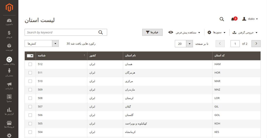 مشاهده کردن تمام شهر استان ها